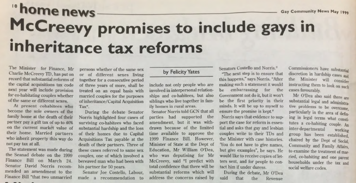 GCN Article: McCreevy promises to include gays in inheritence tax reforms