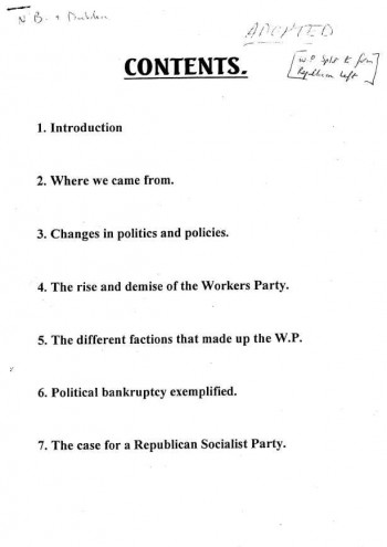 Case for the Formation of a Republican Socialist Party