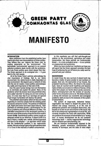Green Party Election Manifesto 1989