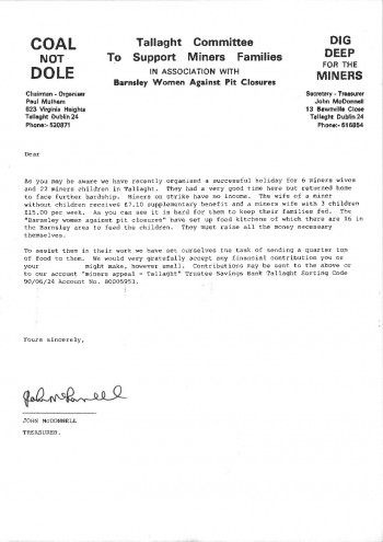 Fundraising Letter (Miners' Strike)