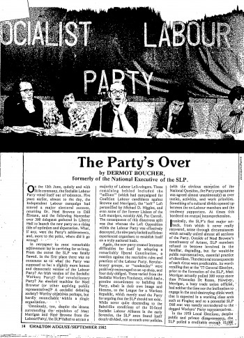The Party's Over - Socialist Labour Party (Gralton, Aug/Sep 1982 [Extract])