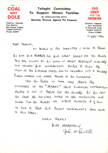Letter of Thanks to Fundraisers
