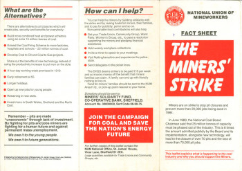 Fact Sheet: The Miners' Strike (Leaflet)