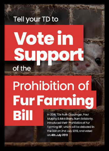 Tell your TD to Vote in Support of the Prohibition of Fur Farming Bill