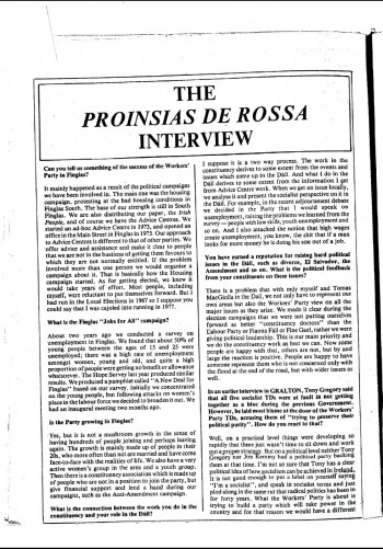 The Proinsias De Rossa Interview