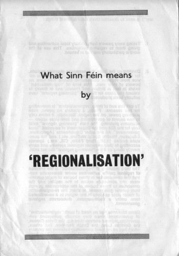 What Sinn Féin means by 'Regionalisation'