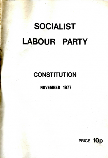 Socialist Labour Party Constitution, November 1977