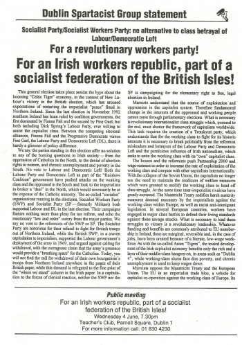 Dublin Spartacist Group Statement