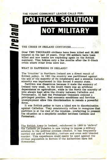 Ireland: The Young Communist League Calls for: Political Solution Not Military