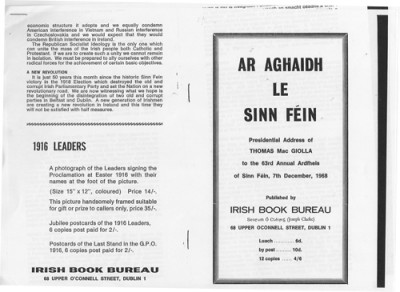Presidential Address by Thomas Mac Giolla to the 63rd Sinn Féin Ard Fhéis, December 1968