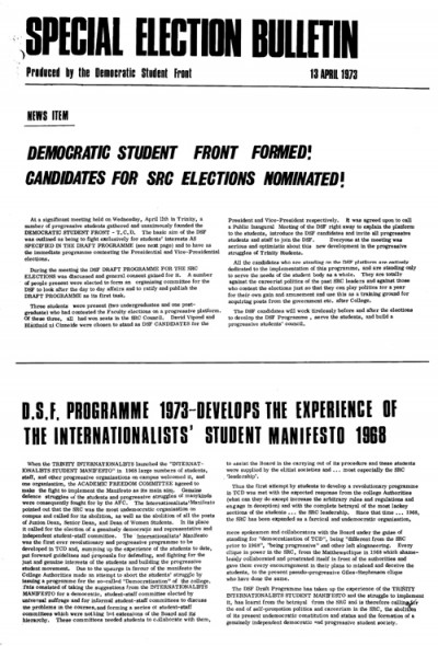 Special Election Bulletin, 13th April 1973