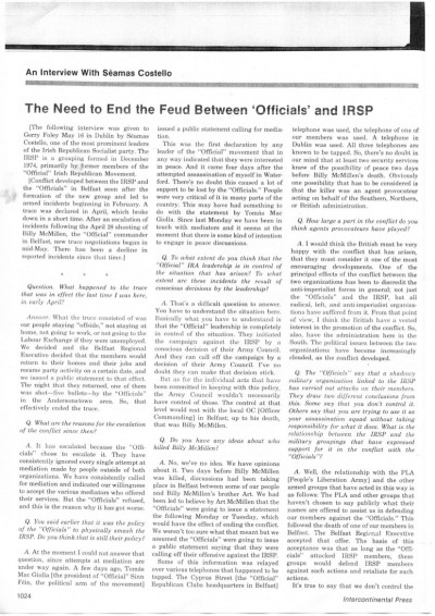 The Need to End the Feud Between 'Officials' and IRSP
