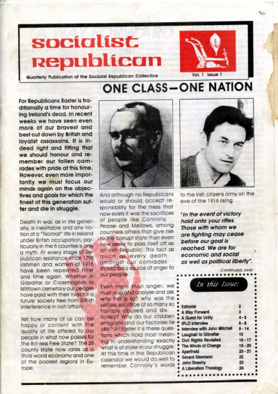 Socialist Republican, Vol. 1, No. 1
