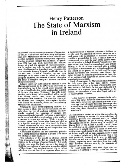 The State of Marxism in Ireland
