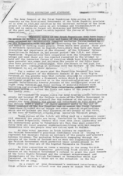 Irish Republican Army Statement, August 1969