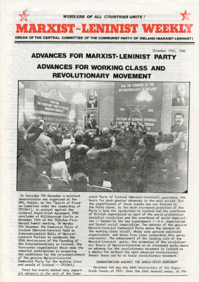 Marxist-Leninist Weekly, 19th December 1985