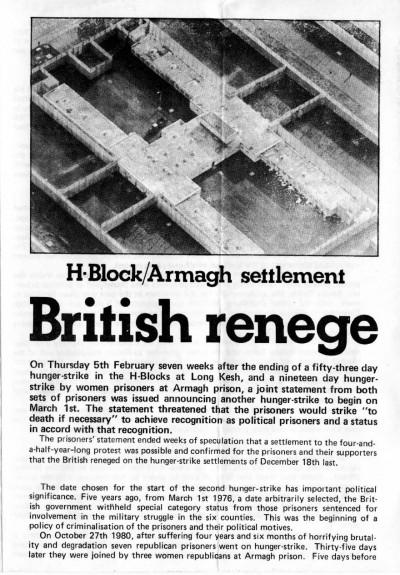 H-Block/Armagh Settlement: British Renege