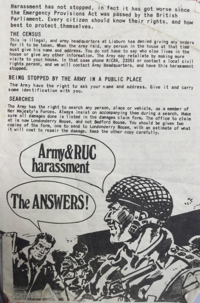 Army and RUC Harrassment: The Answers