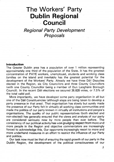 Dublin Regional Council: Regional Party Development Proposals