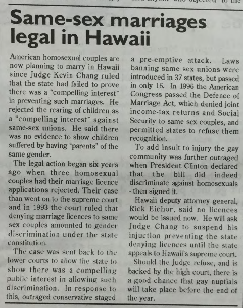 GCN Article: Same Sex Marriages Legal in Hawaii