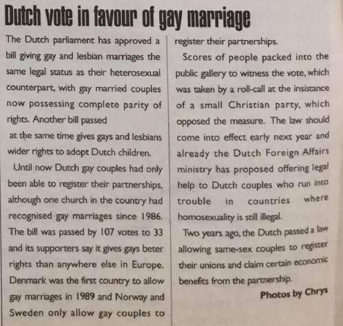 GCN Article: Dutch Vote in Favour of Gay Marriage