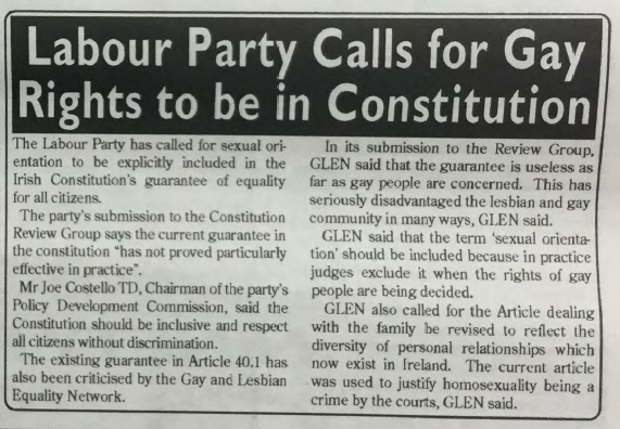 GCN Article: Labour Party Calls for Gay Rights to be in Constitution