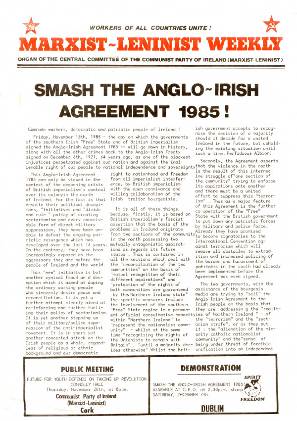 Marxist Leninist Weekly November 1985 Communist Party Of Ireland