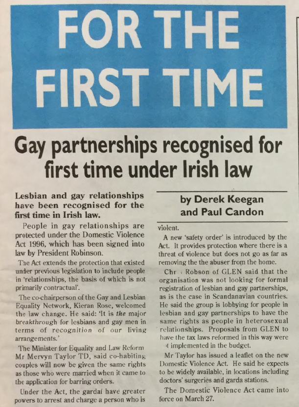 GCN Article: Gay Partnerships Recognised for First Time under Irish Law