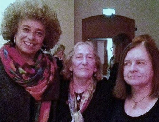 Left-Right: Angela Davis, Lynda Walker and Bernadette Devlin. (Image reproduced with kind permission of Lynda Walker).