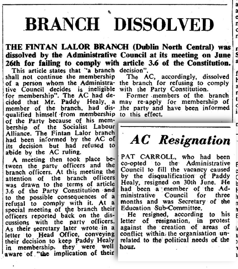 Labour News Bulletin, July 1971, on the dissolution of the Fintan Lalor branch and expulsion of Paddy Healy for membership of the Socialist Labour Alliance.